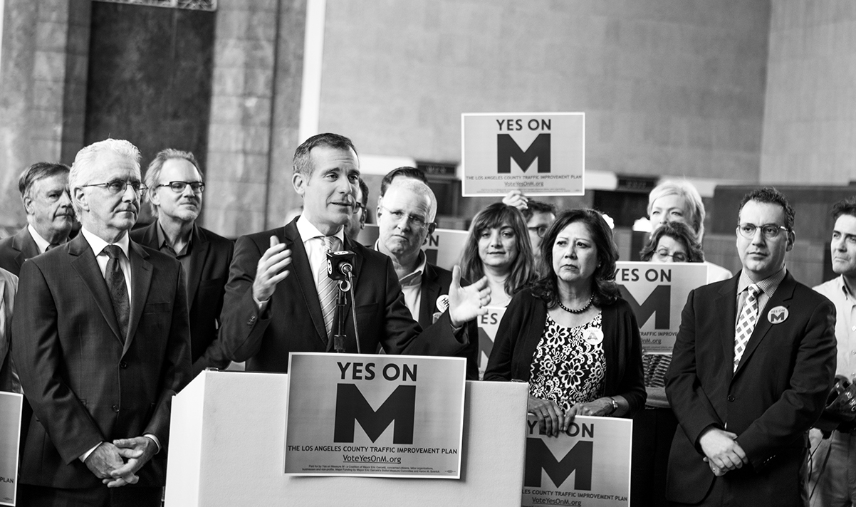 Los Angeles Mayor Eric Garcetti at the Measure M victory press conference